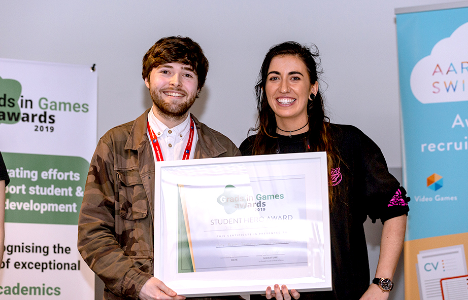 Helen Andrzejowska, Ellie Brown & Zachray Cundall from the University of Huddersfield, 2019 Winners Grads In Games Student Hero Award