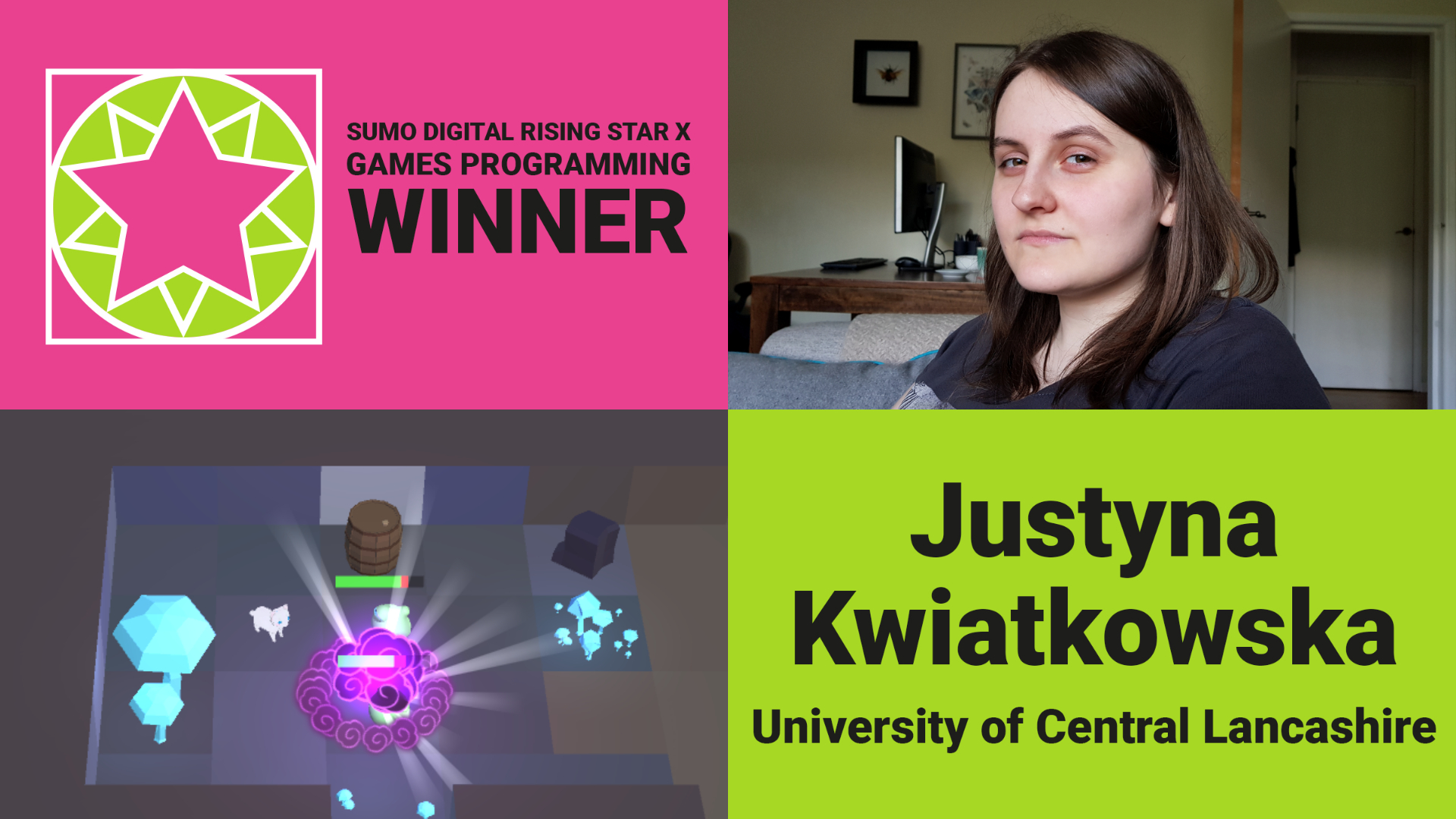 Justyna Kwiatkowska- Sumo Digital Rising Star Winner Games Programming