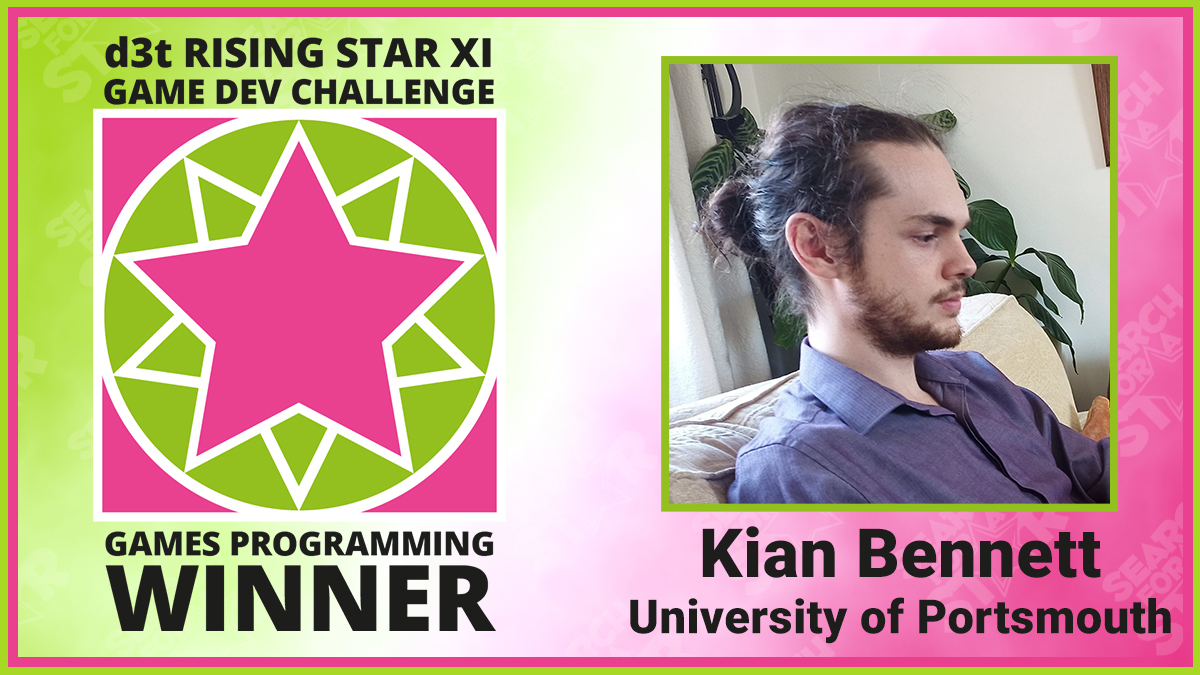 Kian Bennett, d3t Rising Star Games Programming Winner 2021